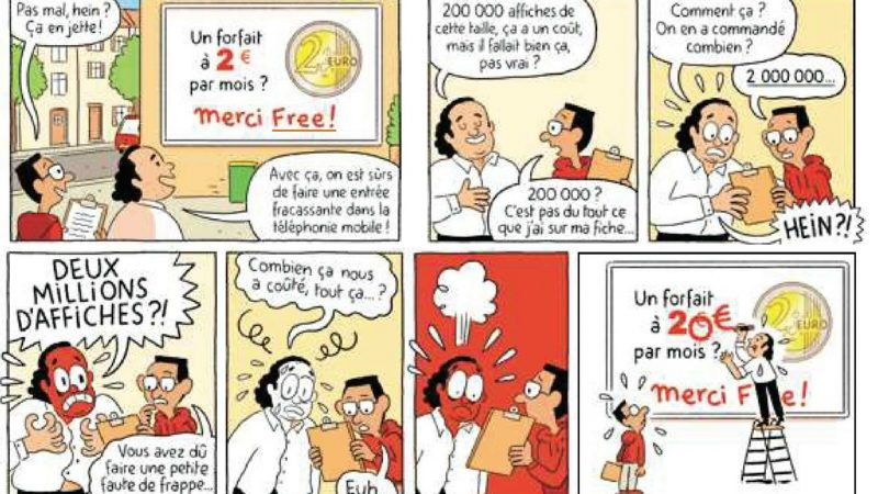 Clin d'œil : trop de pubs pour le forfait 2€ de Free