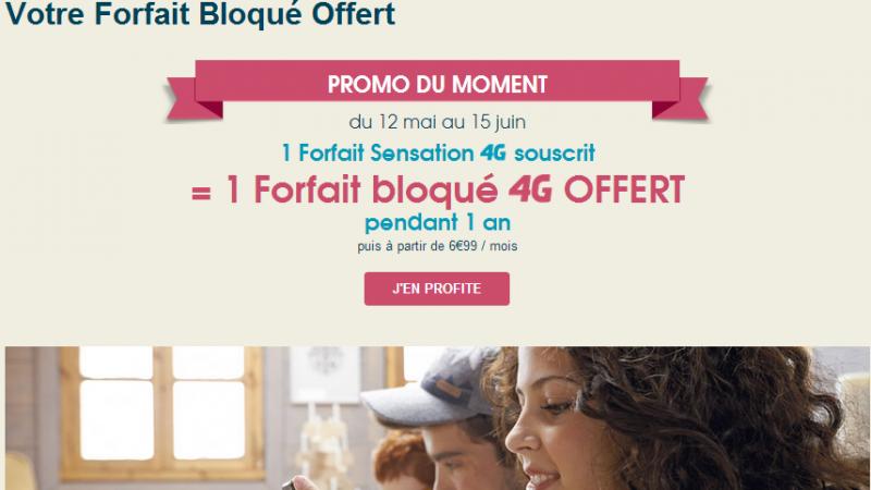 Bouygues Télécom offre un forfait 4G bloqué pour l'achat d'un forfait Sensation 4G