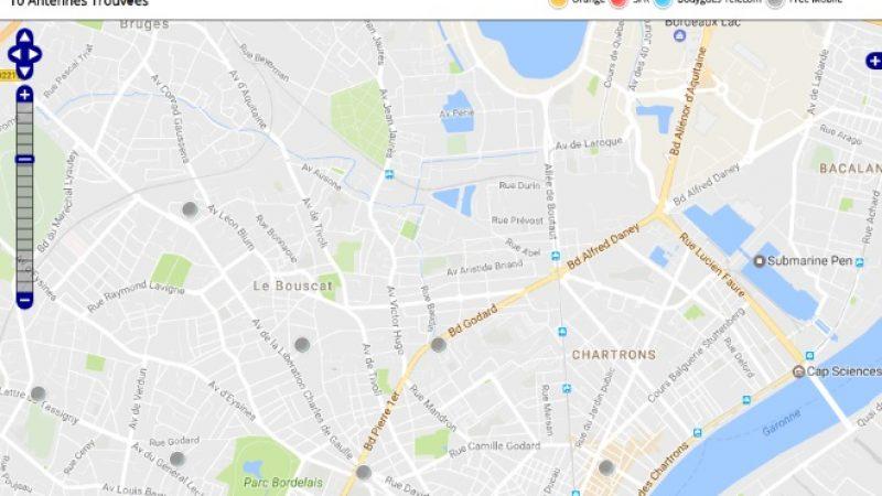 Découvrez la répartition des antennes mobiles Free 3G/4G sur Bordeaux