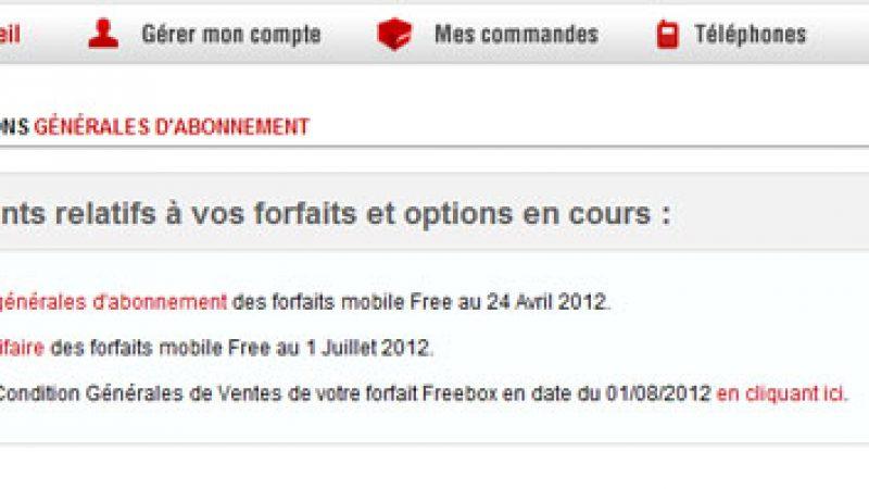Nouveau sur l'interface abonné Free Mobile : Mes conditions générales d'abonnement