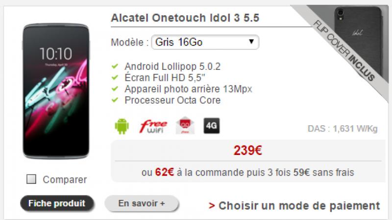 Free Mobile : un flip cover est offert pour tout achat d'un Alcatel OneTouch IDOL 3