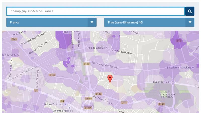Couverture et débit 4G du réseau mobile de Free : Focus sur Champigny-sur-Marne