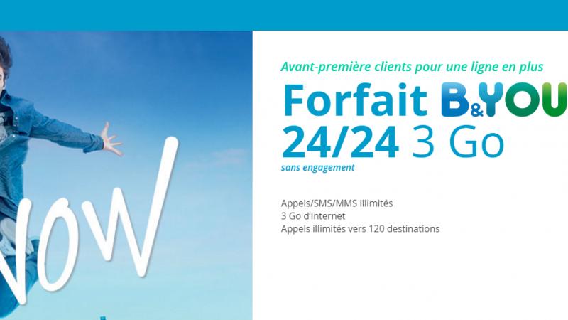 Bouygues Télécom lance une série limitée « B&You 3Go » à 7.99 euros par mois