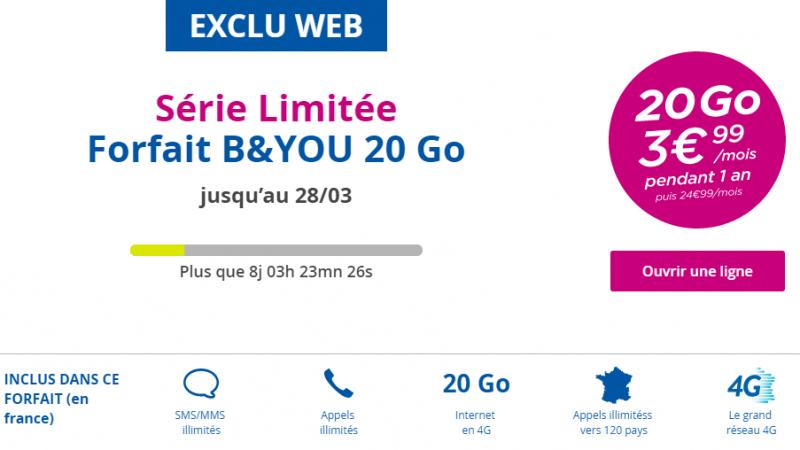 Bouygues Télécom répond à Free avec un forfait B&You 20 Go à 3.99 euros/mois