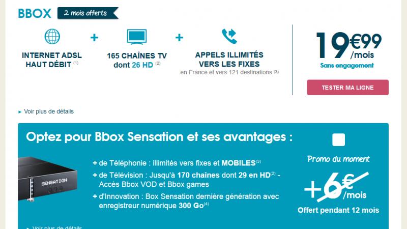 Bouygues Télécom brade sa Bbox : 12 mois offerts sur l'option Sensation