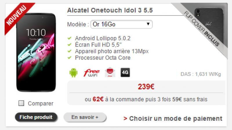 Free Mobile : L'Alcatel OneTouch Idol 3 est désormais disponible en version Or