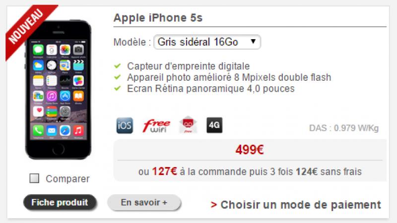 L'iPhone 5s est de retour dans la boutique Free Mobile