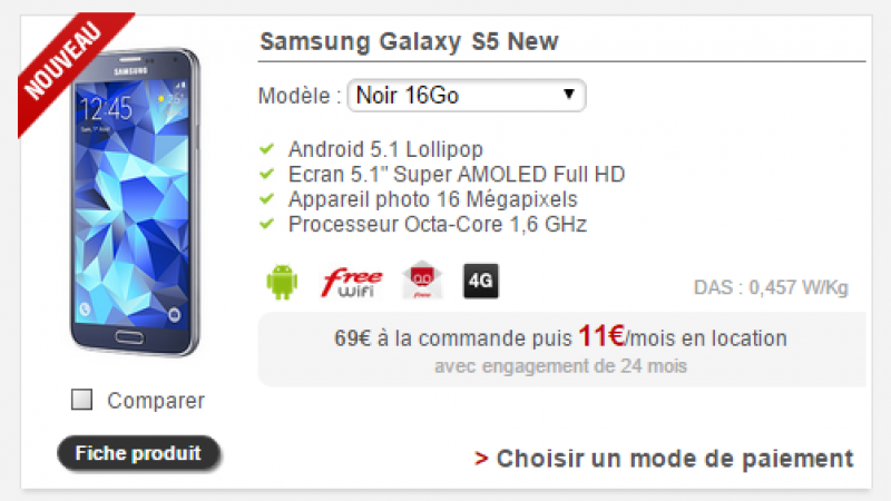 Free Mobile : Le Samsung Galaxy S5 New est disponible à la location pour 11 euros/mois