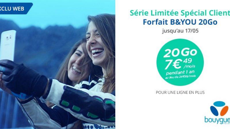 Le forfait B&You 20 GO à tarif réduit pour les anciens clients et pour pour toute nouvelle souscription