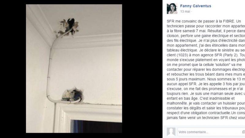 Clin d'oeil : quand SFR défonce un appartement pour installer la fibre et coupe l'électricité pendant 5 jours