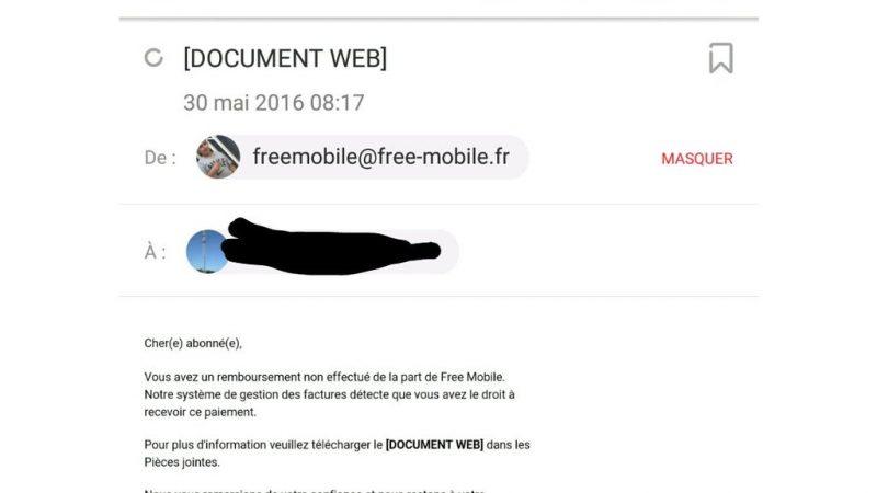 Un phishing avec une adresse mail Free Mobile