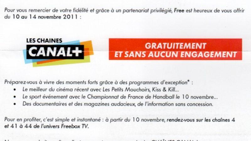 Free : Toutes les chaînes Canal+ gratuites à partir de jeudi et durant 5 jours