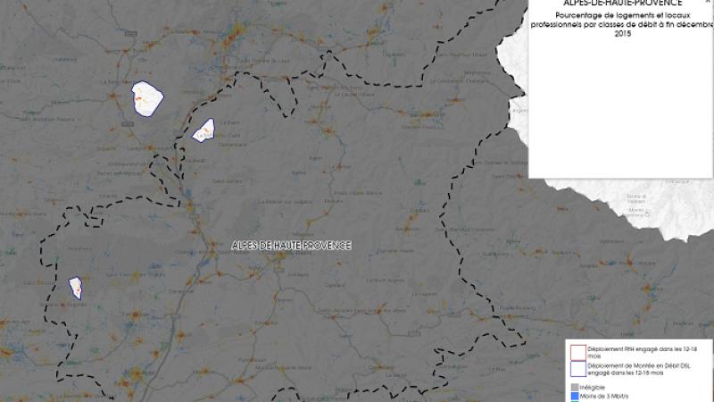 Découvrez la carte des déploiements très haut débit lancés dans les Alpes de Haute Provence