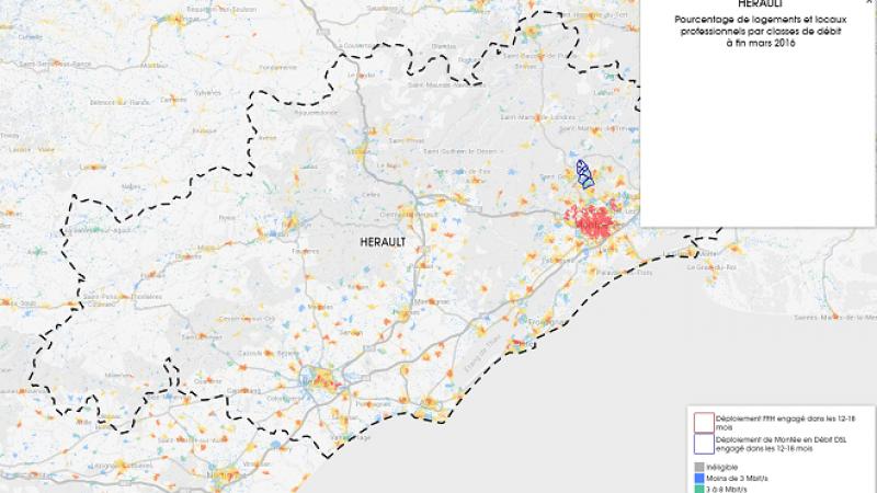 Découvrez la carte des déploiements Très Haut Débit engagés dans l'Hérault