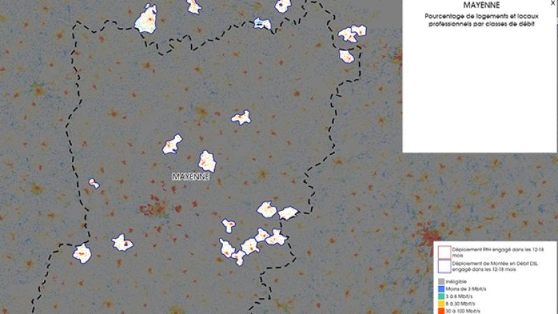 Découvrez la carte des déploiements très haut débit lancés dans la Mayenne