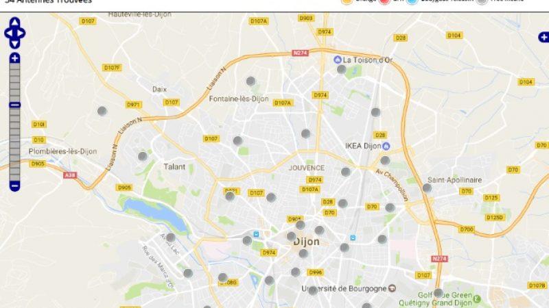 Découvrez la répartition des antennes mobiles Free 3G/4G sur Dijon