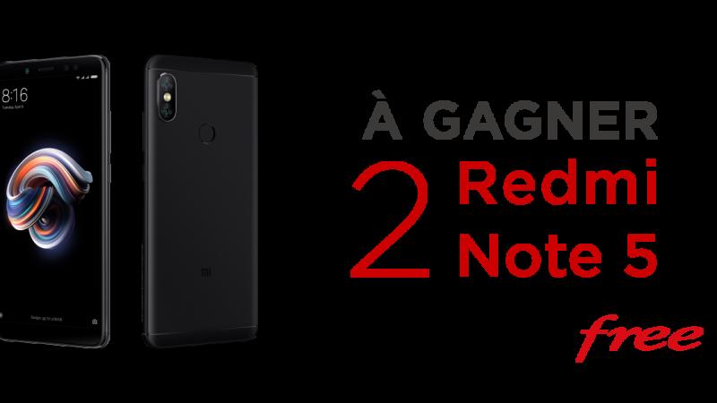 Free lance un nouveau jeu concours et fait gagner deux Xiaomi Redmi Note 5