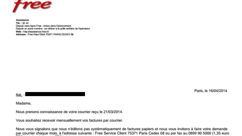 """[MàJ] Facturation Free : les demandes de """"factures papier"""" doivent être réalisées tous les mois"""