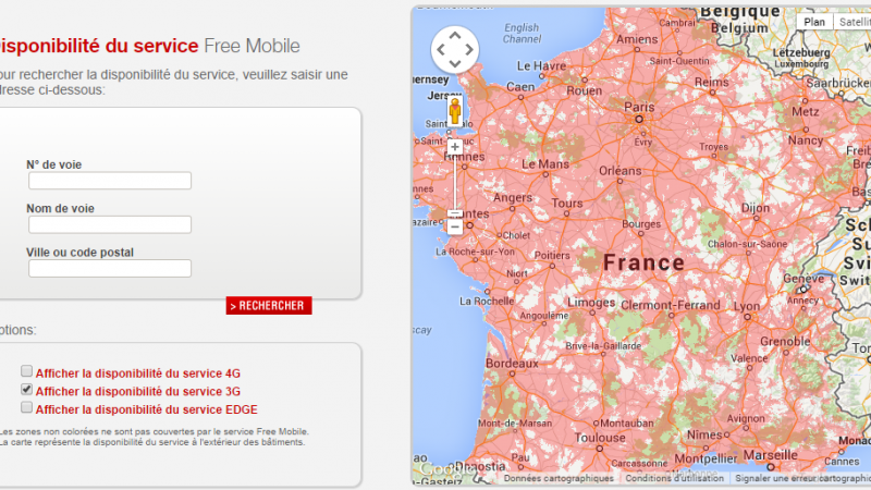Free Mobile met à jour ses cartes de couvertures mobiles