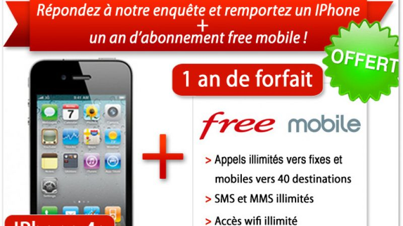 Gagnez un iPhone 4S et 1 an d'abonnement à FreeMobile