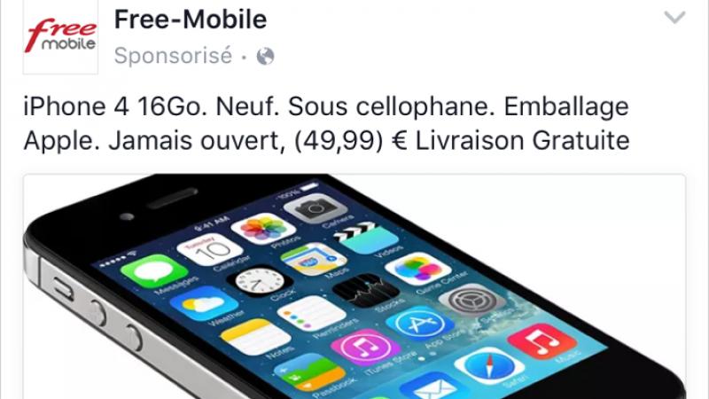 Non, Free Mobile ne propose pas un iPhone à 49,99€ sur Facebook