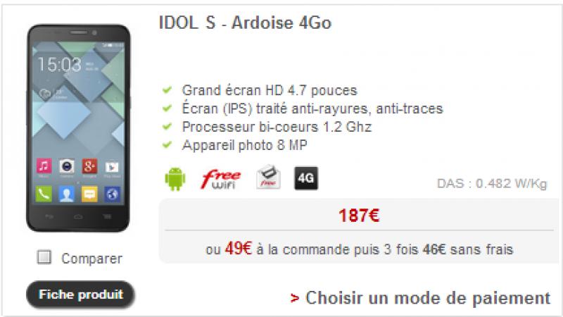 L'Alcatel Idol S baisse son tarif et devient le terminal 4G le moins cher chez Free Mobile