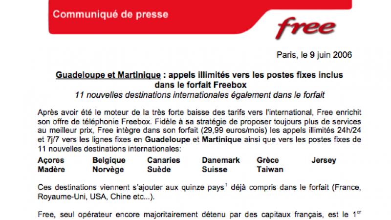 Guadeloupe et Martinique : appels illimités vers les postes fixes inclus