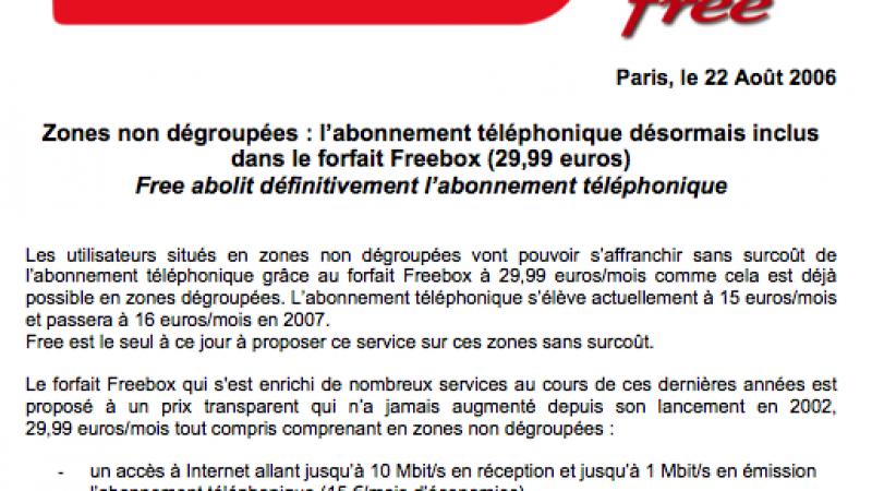 (MàJ) CP : La fin de l'abonnement téléponique en zones non dégroupées
