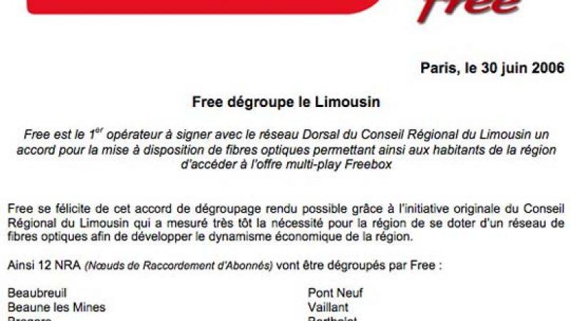 Free dégroupe le Limousin