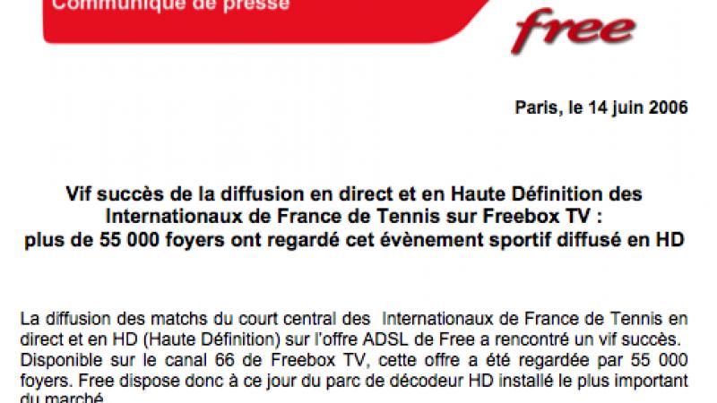 CP : Succès de la diffusion HD de Roland Garros