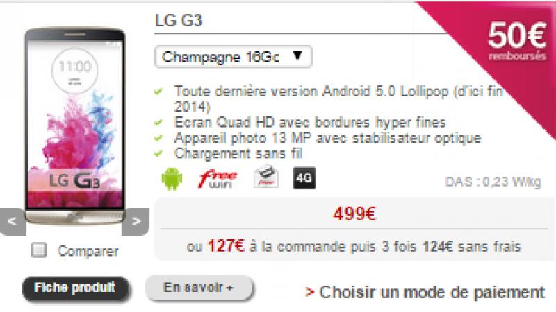 Free Mobile : retour du LG G3 avec une baisse de prix et une offre de remboursement