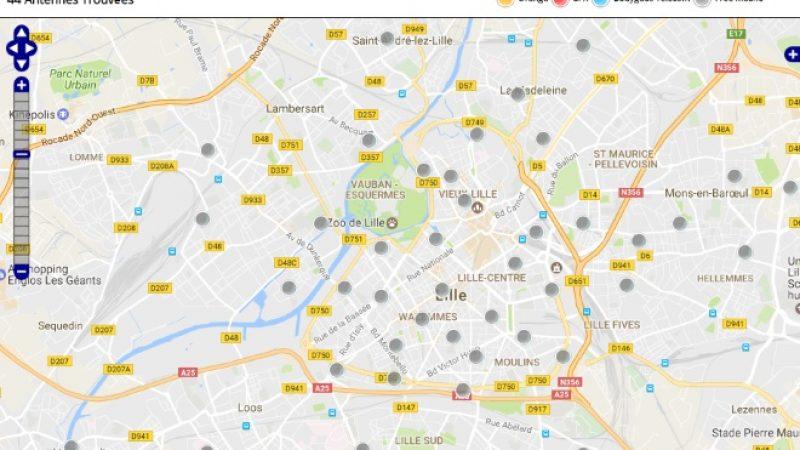 Découvrez la répartition des antennes mobiles Free 3G/4G sur Lille