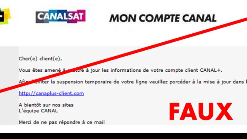 Phishing en cours visant les abonnés Canalsat