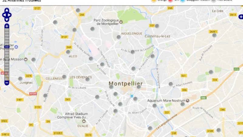 Découvrez la répartition des antennes mobiles Free 3G/4G sur Montpellier