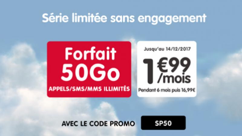 """NRJ Mobile lance une offre """"forfait 50 Go à 1,99€"""" sur Showroom Privé pendant 6 mois avec une modalité un peu particulière"""