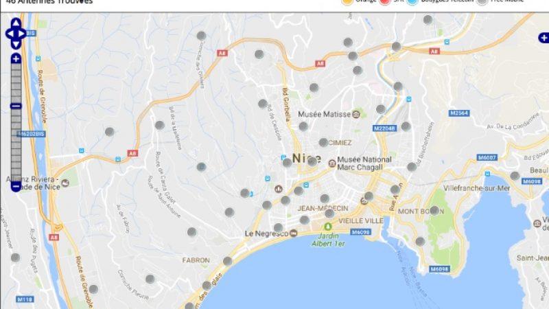 Découvrez la répartition des antennes mobiles Free 3G/4G sur Nice