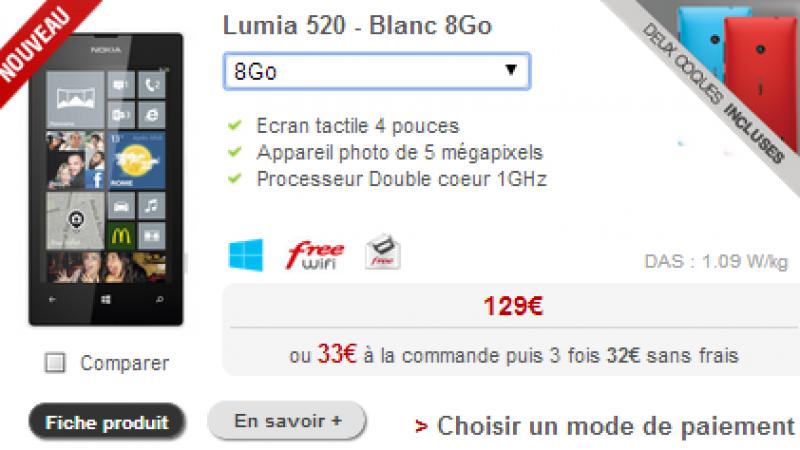 Free Mobile : le Nokia Lumia 520 disponible en blanc