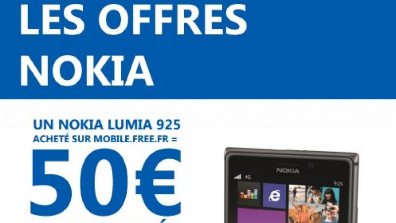 Free Mobile : 50 € remboursés sur le Nokia Lumia 925