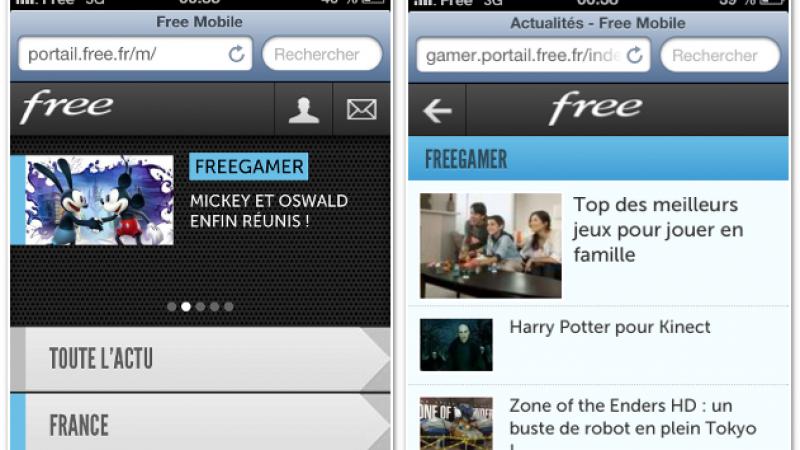Le portail de Free accessible en version Mobile