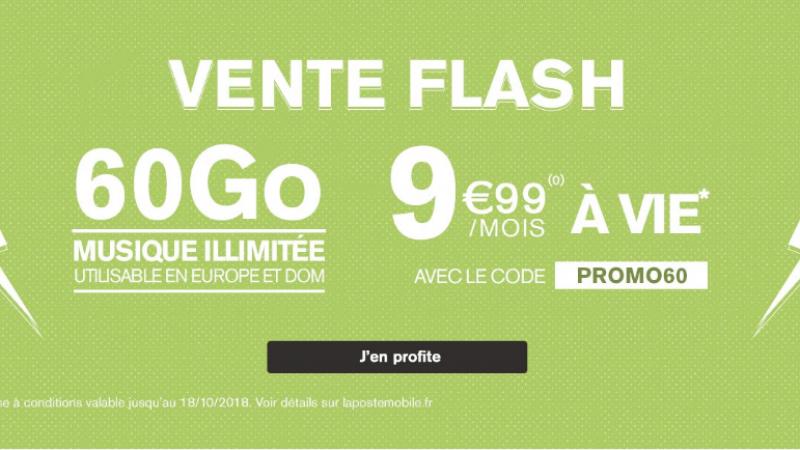 La Poste Mobile lance une offre spéciale 60 Go à 9,99€/mois à vie