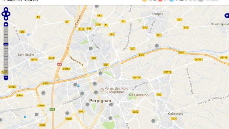 Découvrez la répartition des antennes mobiles Free 3G/4G sur Perpignan
