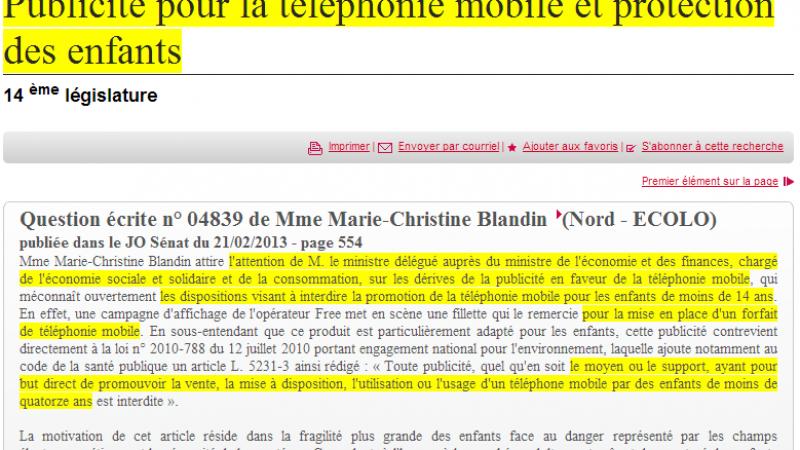 Pub Free Mobile 2€ : Une sénatrice demande le retrait de la publicité.