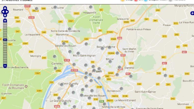 Découvrez la répartition des antennes mobiles Free 3G/4G sur Rouen