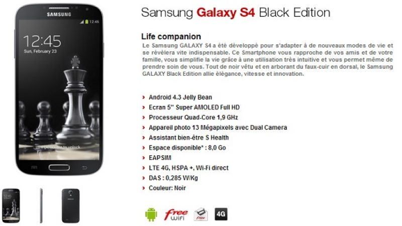 Le Samsung Galaxy S4 Black Edition arrive chez Free Mobile