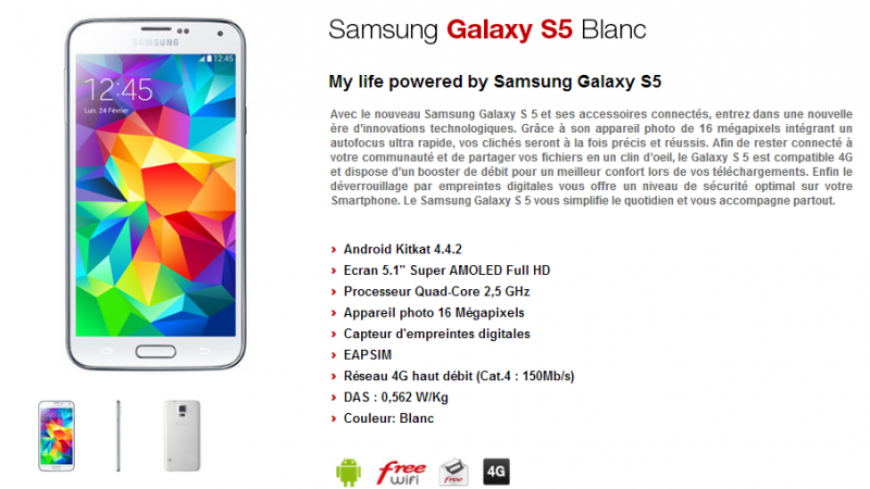 Boutique Free Mobile : le Samsung Galaxy S5 disponible à l'achat