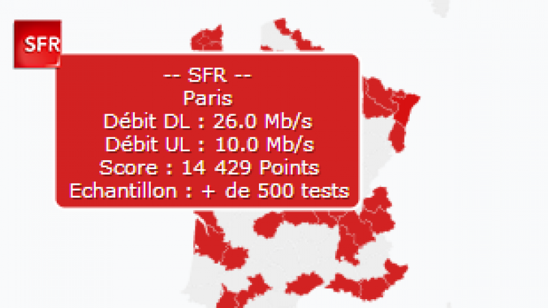 """SFR se targue d'avoir """"la meilleure couverture très-haut-débit mobile en France. """""""