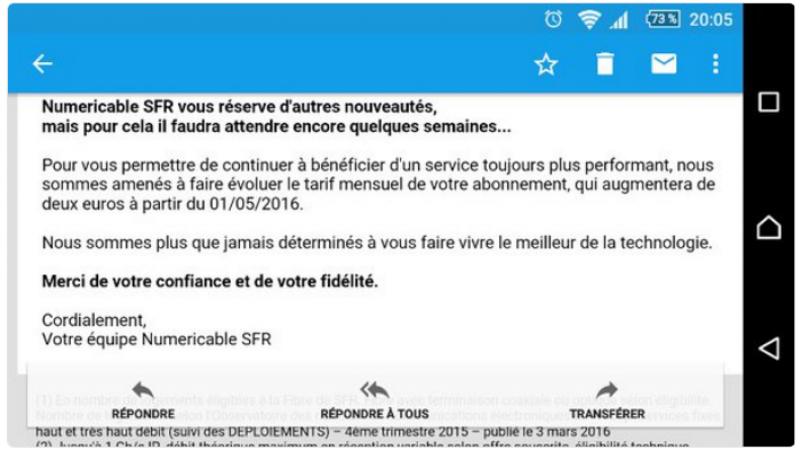 Numéricable-SFR : nouvelle augmentation de 2 euros/mois pour les clients fixes à partir du 1 mai 2016
