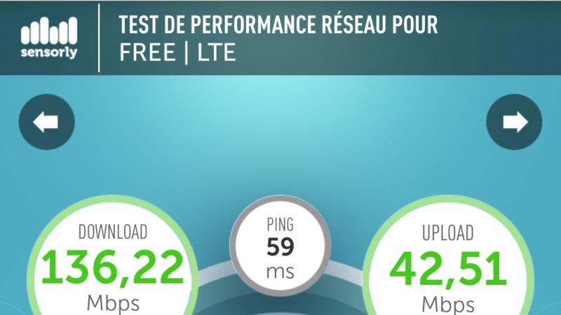 Record débit 4G Free Mobile à Nîmes