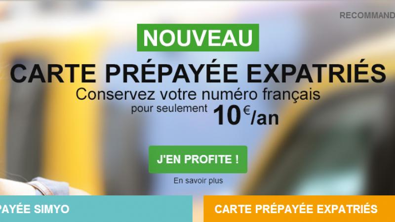 Carte prépayée Simyo Expatriés : 10 € par an pour conserver son numero Français