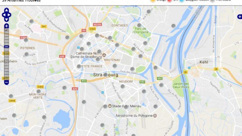 Découvrez la répartition des antennes mobiles Free 3G/4G sur Strasbourg